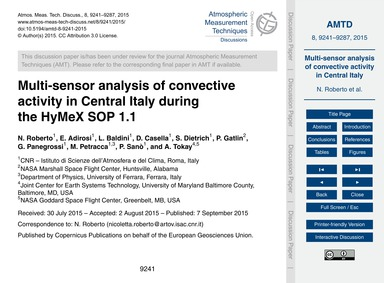 Multi-sensor Analysis of Convective Acti... by Roberto, N.