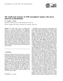The Small-scale Structure of Vhf Mesosph... by Hooper, D. A.