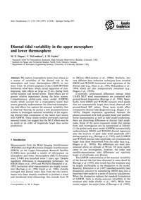 Diurnal Tidal Variability in the Upper M... by Hagan, M. E.