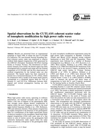Spatial Observations by the Cutlass Cohe... by Bond, G. E.