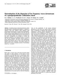 Determination of the Dispersion of Low F... by Balikhin, M. A.