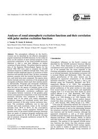 Analyses of Zonal Atmospheric Excitation... by Nastula, J.