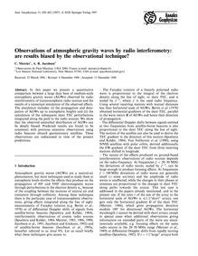 Observations of Atmospheric Gravity Wave... by Mercier, C.