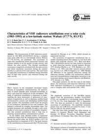 Characteristics of Vhf Radiowave Scintil... by Rama Rao, P. V. S.