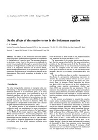 On the Effects of the Reactive Terms in ... by Zamlutti, C. J.