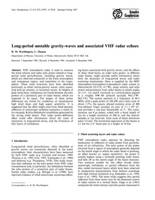 Long-period Unstable Gravity-waves and A... by Worthington, R. M.