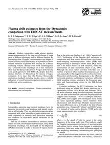 Plasma Drift Estimates from the Dynasond... by Sedgemore, K. J. F.