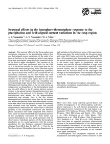 Seasonal Effects in the Ionosphere-therm... by Namgaladze, A. A.