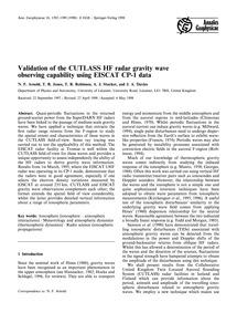 Validation of the Cutlass Hf Radar Gravi... by Arnold, N. F.