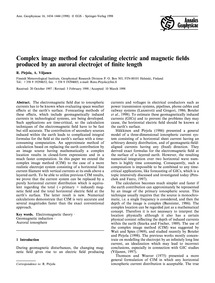 Complex Image Method for Calculating Ele... by Pirjola, R.