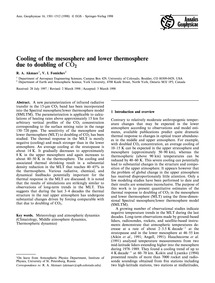 Cooling of the Mesosphere and Lower Ther... by Akmaev, R. A.