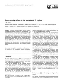 Solar Activity Effects in the Ionospheri... by Danilov, A. D.