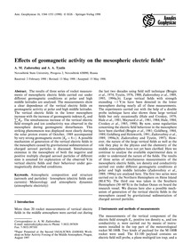 Effects of Geomagnetic Activity on the M... by Zadorozhny, A. M.