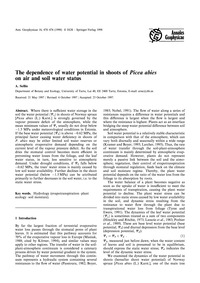 The Dependence of Water Potential in Sho... by Sellin, A.