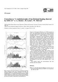 Erratum: Annales Geophysicae Volume 15, ... by Davies, J. A.
