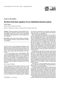 Letter to the Editor: Revision of the Ba... by Storey, L. R. O.