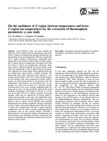 On the Usefulness of E Region Electron T... by St.-maurice, J.-p.