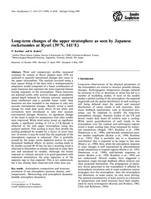 Long-term Changes of the Upper Stratosph... by Keckhut, P.