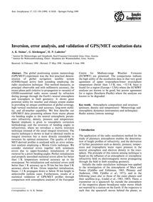 Inversion, Error Analysis, and Validatio... by Steiner, A. K.