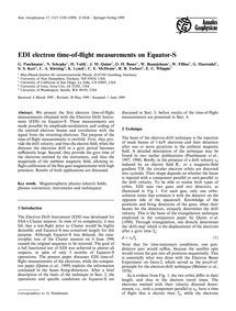 Edi Electron Time-of-flight Measurements... by Paschmann, G.