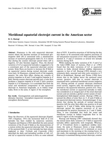 Meridional Equatorial Electrojet Current... by Rastogi, R. G.
