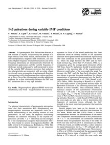 Pc3 Pulsations During Variable Imf Condi... by Villante, U.