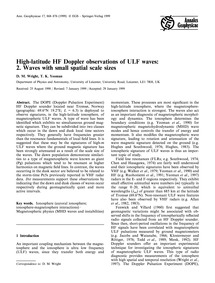 High-latitude Hf Doppler Observations of... by Wright, D. M.