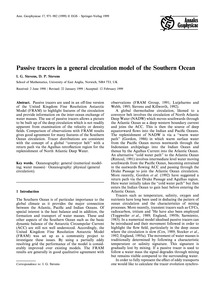 Passive Tracers in a General Circulation... by Stevens, I. G.