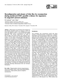 Reconfiguration and Closure of Lobe Flux... by Lockwood, M.