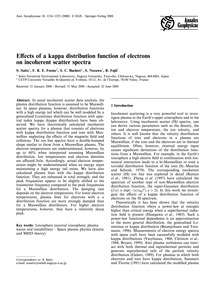 Effects of a Kappa Distribution Function... by Saito, S.