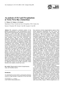 An Analysis of Pc3 and Pc4 Pulsations at... by Villante, U.