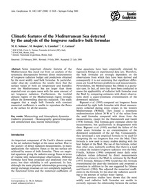Climatic Features of the Mediterranean S... by Schiano, M. E.