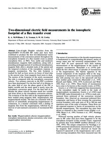 Two-dimensional Electric Field Measureme... by McWilliams, K. A.
