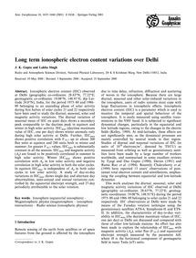 Long Term Ionospheric Electron Content V... by Gupta, J. K.