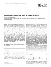 4D Tropospheric Tomography Using Gps Sla... by Flores, A.