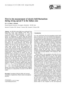 First in Situ Measurement of Electric Fi... by Sinha, H. S. S.