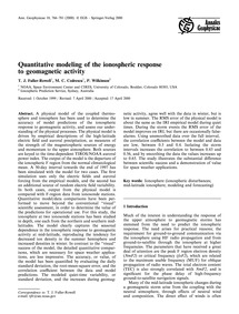 Quantitative Modeling of the Ionospheric... by Fuller-rowell, T. J.