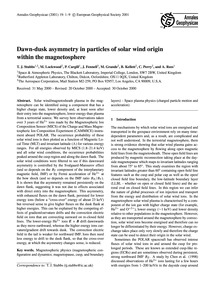 Dawn-dusk Asymmetry in Particles of Sola... by Stubbs, T. J.