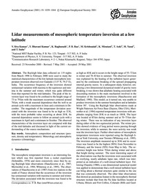 Lidar Measurements of Mesospheric Temper... by Siva Kumar, V.