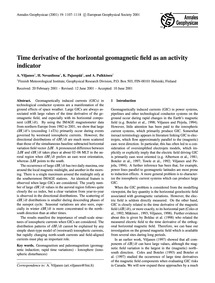 Time Derivative of the Horizontal Geomag... by Viljanen, A.