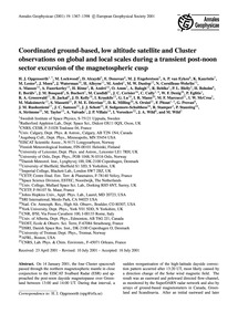 Coordinated Ground-based, Low Altitude S... by Opgenoorth, H. J.