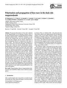 Polarisation and Propagation of Lion Roa... by Maksimovic, M.