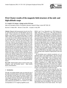 First Cluster Results of the Magnetic Fi... by Cargill, P. J.