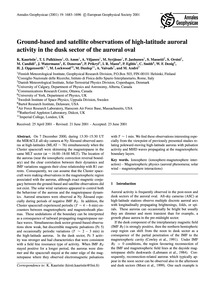 Ground-based and Satellite Observations ... by Kauristie, K.