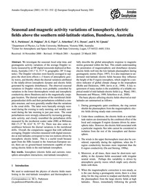 Seasonal and Magnetic Activity Variation... by Parkinson, M. L.