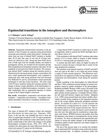 Equinoctial Transitions in the Ionospher... by Mikhailov, A. V.