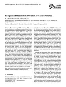 Energetics of the Summer Circulation Ove... by De Lima Moscati, M. C.