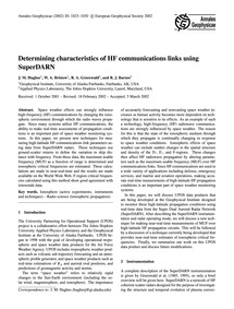 Determining Characteristics of Hf Commun... by Hughes, J. M.