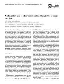 Nonlinear Forecasts of ƑOF2: Variation o... by Chan, A. H. Y.