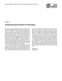 Preface Tenth International Eiscat Works... by
